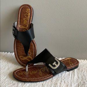 Sam Edelman Black Leather Thong Sandals Size 7.5